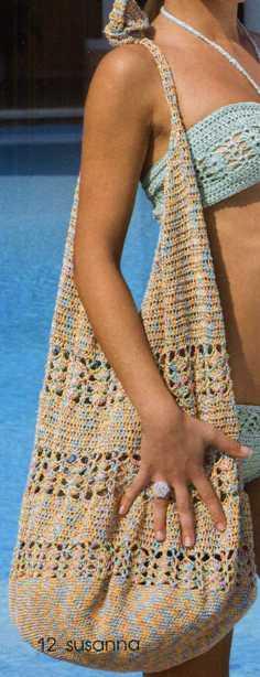 схемы вязания крючком пляжные туники - Сумки.
