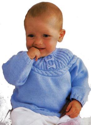 Вязание спицами, свитер для малыша с круглой кокеткой.  Материал.  3 пуговицы.