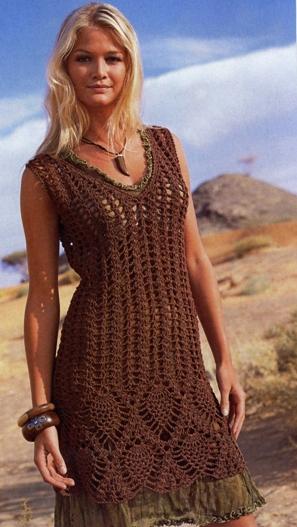 вязание крючком для женщин летних платьев и туник.