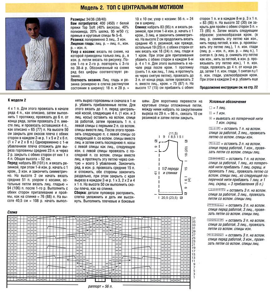 Вязание спицами схема вязания с