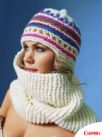 Оригинальная модель шапочка-шарф (2 в 1) вяжется очень быстро, буквально...