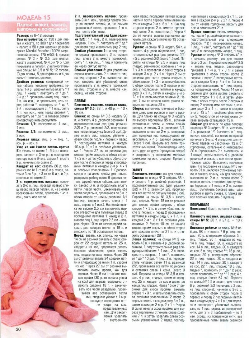 Вязание спицами для девочек до 2 лет с описанием