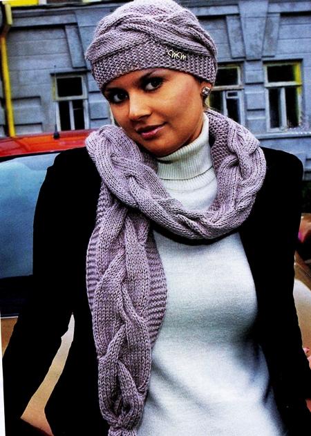 Комплект шапочка и шарф связан узором