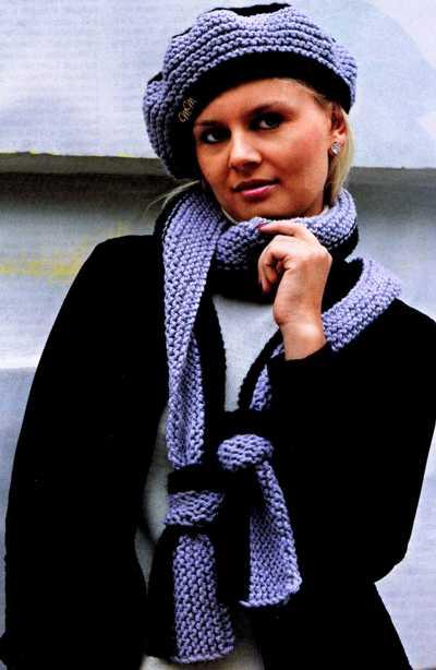 Берет и шарф связан самой простой