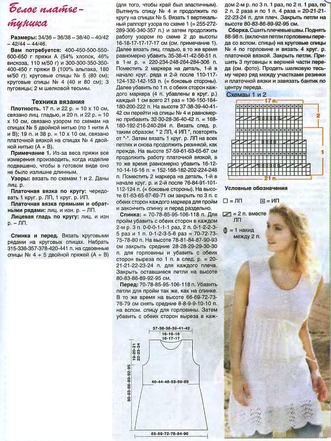 Вязание спицами модели платья туники