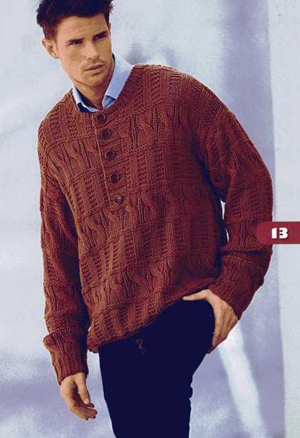 Схема вязания мужского пуловера спицами.