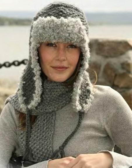 Вязание спицами шапки-ушанки для девочки.