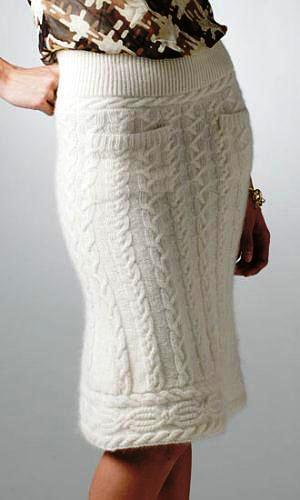 Связать длинную юбку спицами