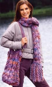 вязание шарф и сумка