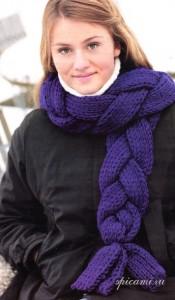 вязаный шарф коса
