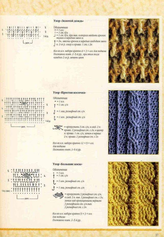 схема вязания узора коса крючком