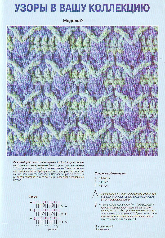 Двухцветный узор вязаный спицами петелики 3