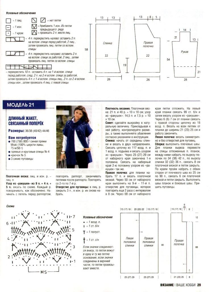 Схема вязания жакетов спицами 3