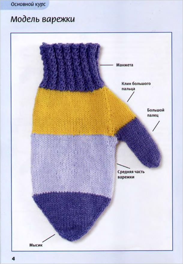 вязание варежки техника: