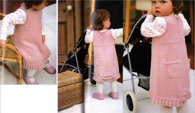 Вязаное платье (Вязание для детей) .