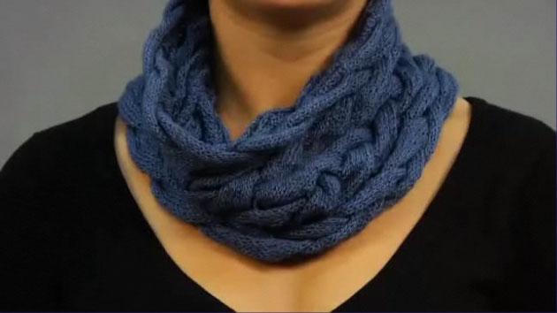схема вязания спицами шарфа - хомута. вязание беретов и шапок