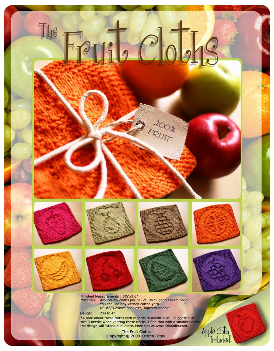 Reina-Oro.  Поделиться.  9 схем вязания на спицах , фруктовая тематика.