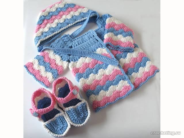 Вязание крючком Модели для детей комплект для новорожденного.