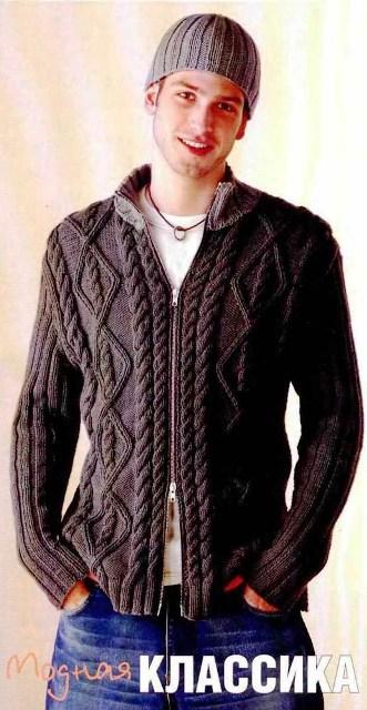 вязание спицами мужские кофты с описанием.
