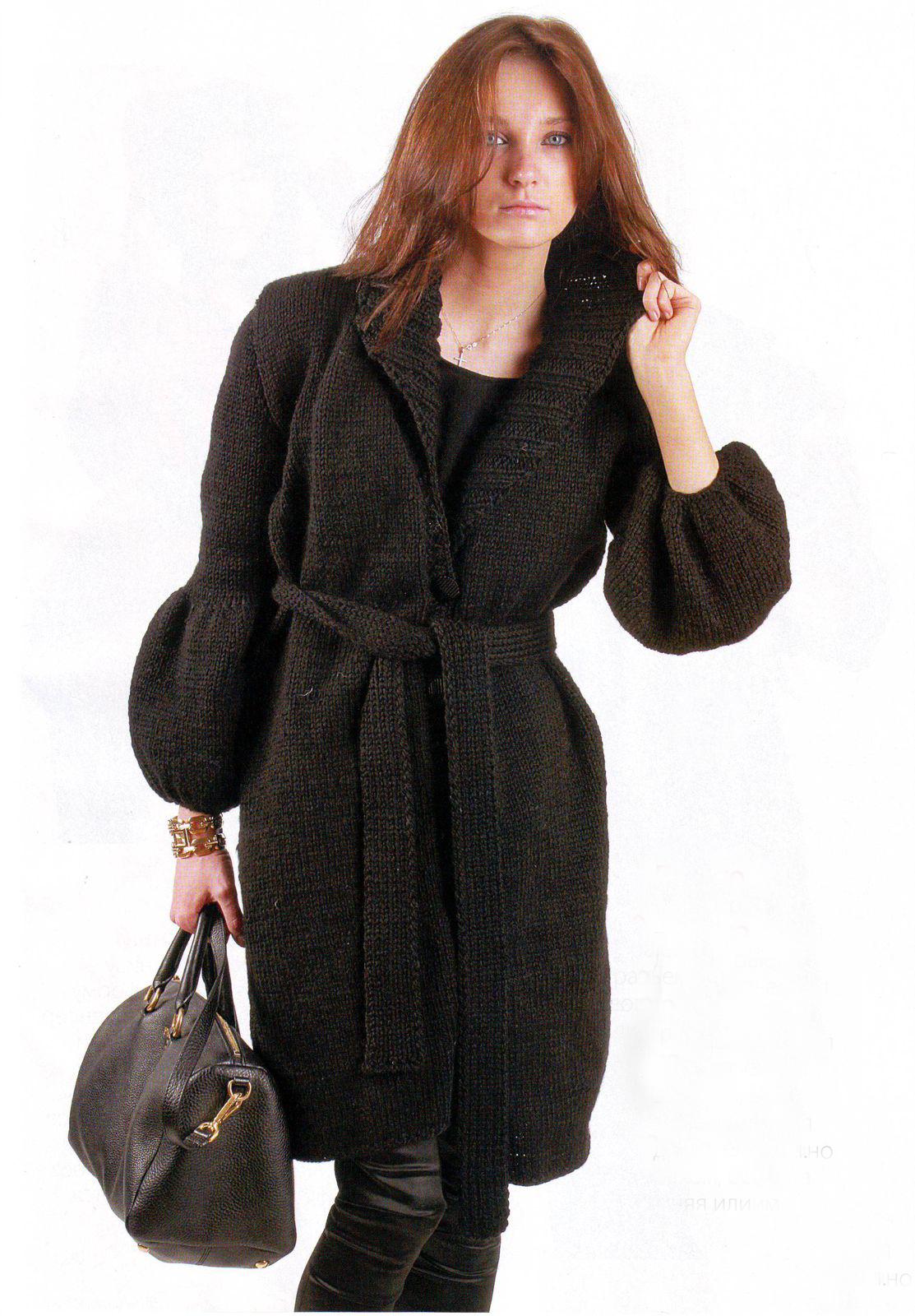 вязание спицами пальто.