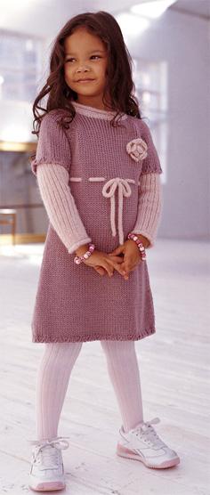 вязаное платье , дополнено длинными