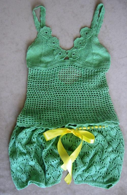 вязаное белье топ и шорты вязание спицами крючком уроки вязания