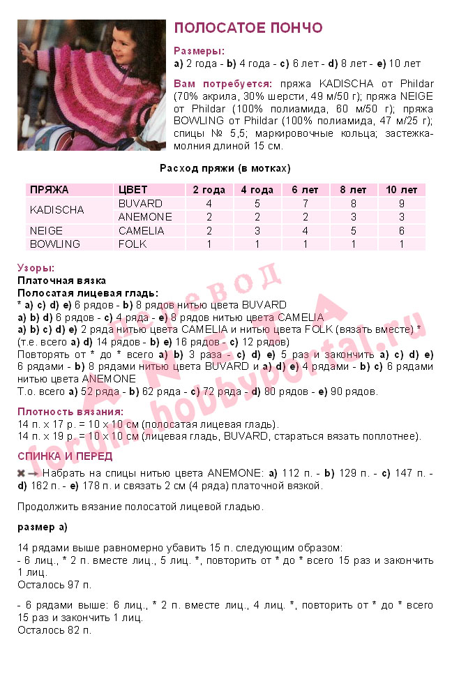 Вязание пончо спицами для девочки 3 лет