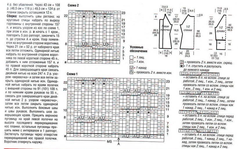 Косы схема вязания спицами реглан