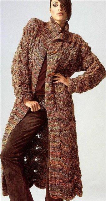 Вязаное пальто фото -