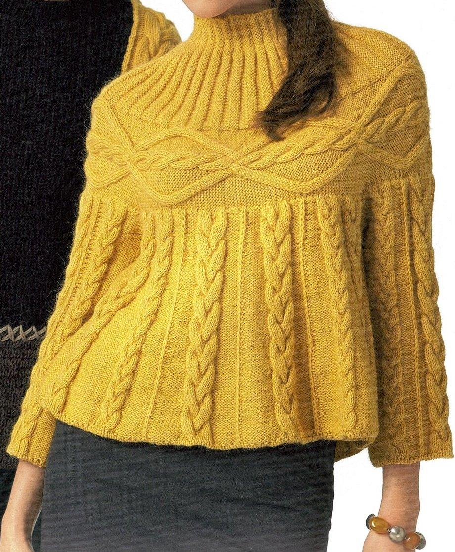 Отзывов: 3. свитер, пуловер.  Джемпер на кокетки со множеством кос расклешенного силуэта связан спицами из яркой...