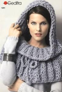 вязание пелерина с капюшоном