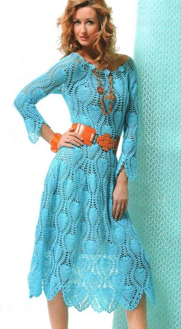 Узор вязания крючком платья