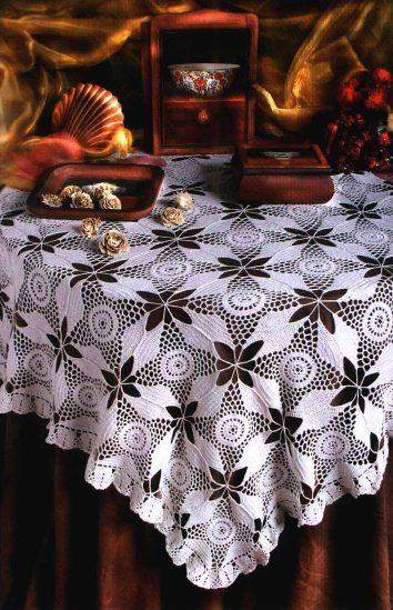 Схема ажурной квадратной скатерть.