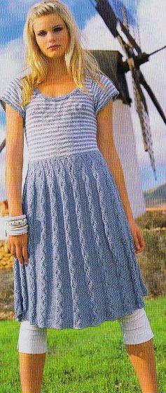 Узорные вязание платья на спицах
