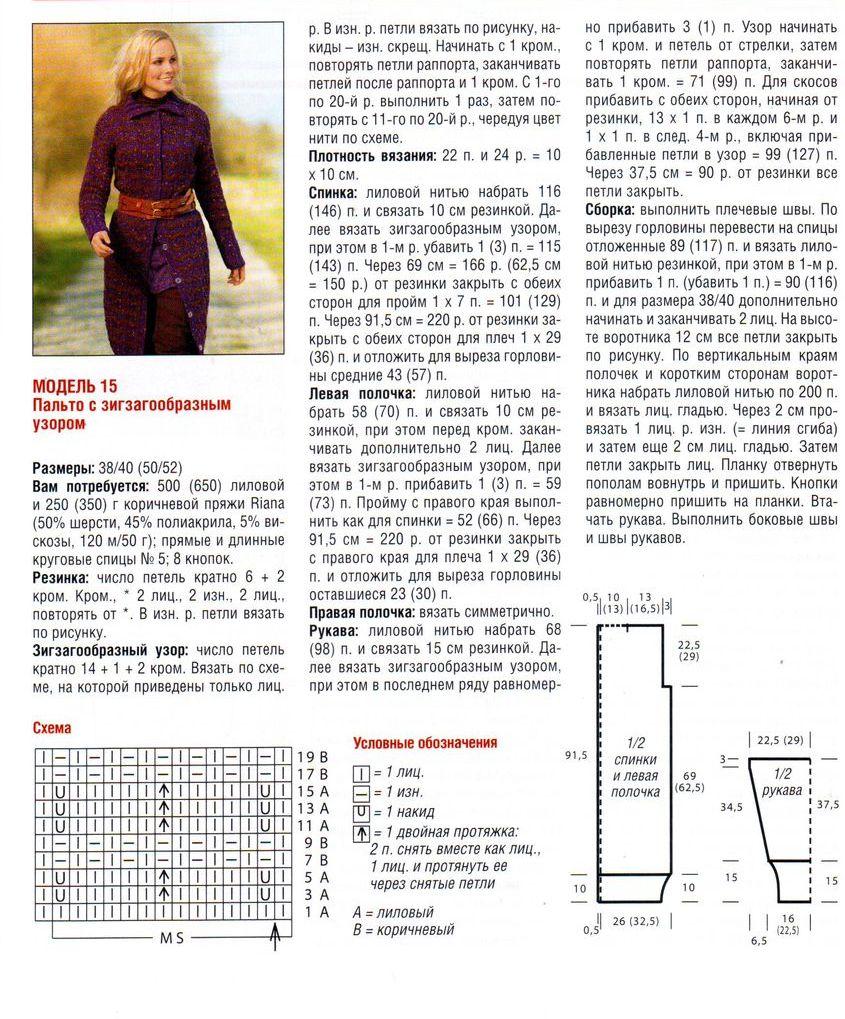 Вязание спицами пальто женский с описанием и схемой