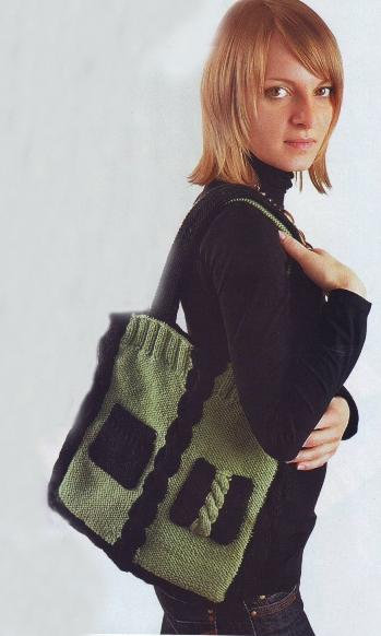 Вязаная сумка с кармашками Вязание.