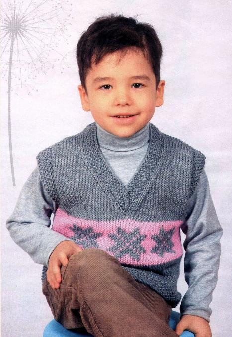 Описание: Вязаный жилет для мальчика Вязание.