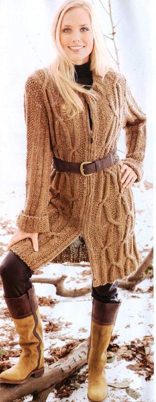Вязаное пальто спицами с капюшоном. Вязание пальто на спицах