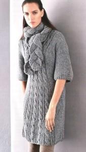 вязаное платье и шарф