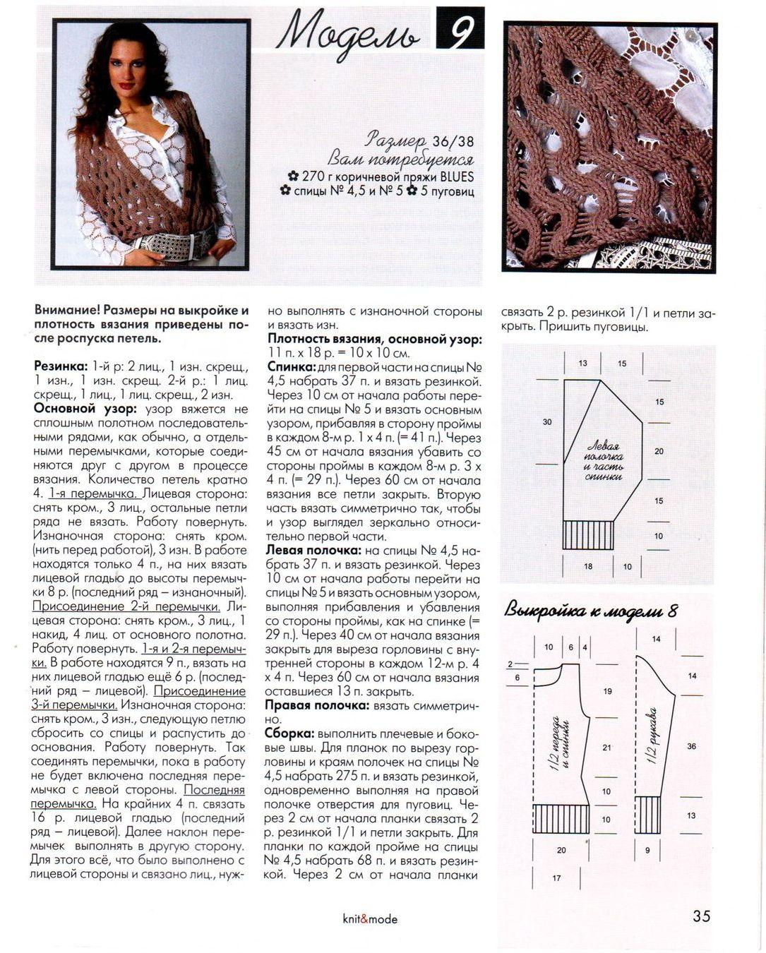 Вязаные женские жилеты спицами со схемами и описанием