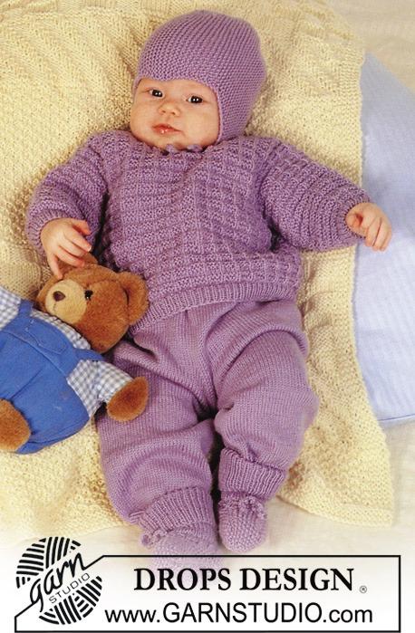 Вязаный комплект для малыша... и пинетки.  Очень красивый, теплый и в тоже время простой в вязании комплект.