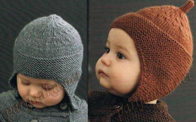 Описание: детские шапочки вязанные спицами для новорожденных.