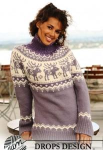 вязаный свитер с норвежскими узорами