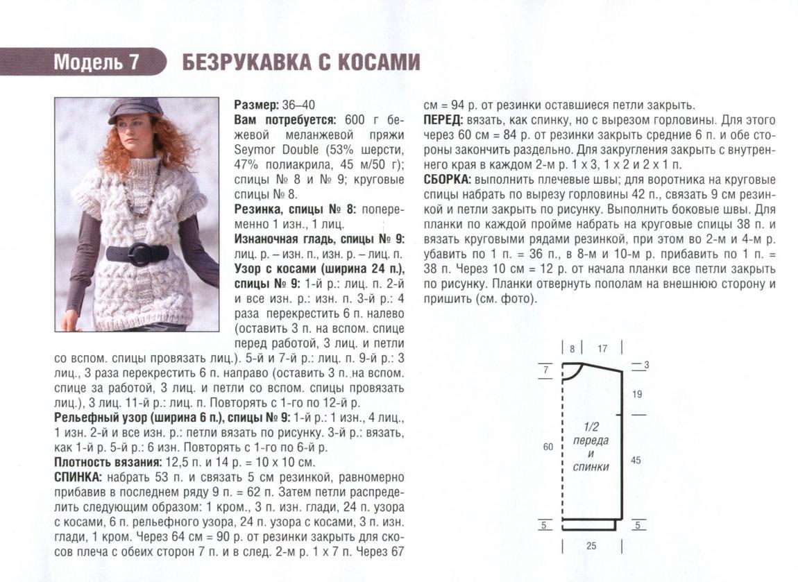 Вязаный безрукавка женский спицами схема с описанием