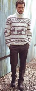 вязаный пуловер с оленями