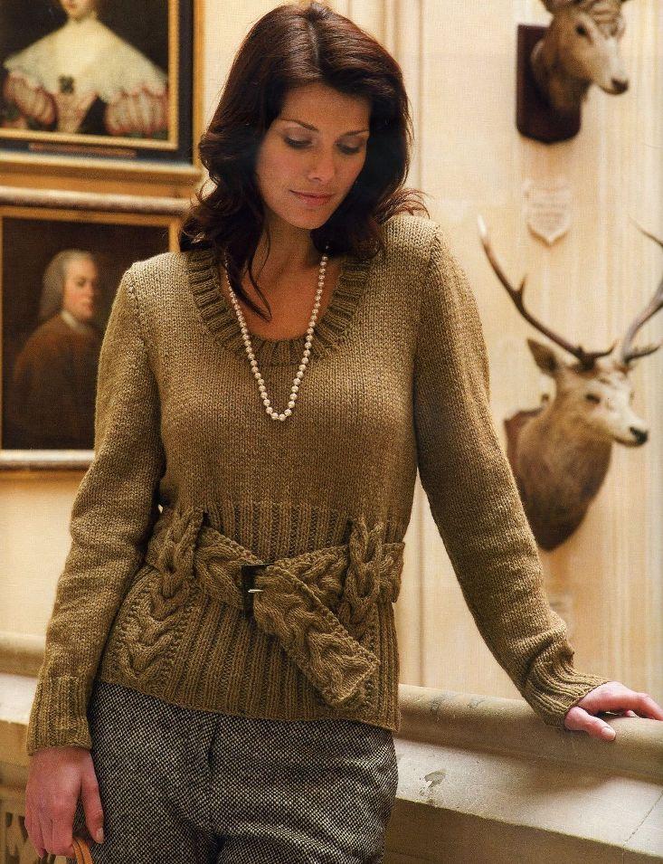 Вязание свитеров косами