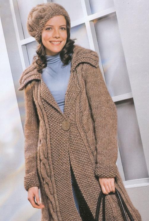 пальто ручное вязание.  Вязание спицами - это искусство!