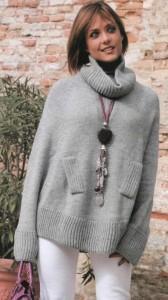 вязаный свитер-пончо
