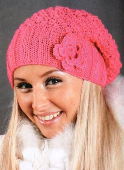 вязание шапок спицами со схемами на зиму. шапки вязанные спицами.