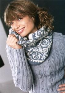 Описание: Вязаный шарф с орнаментом Вязание.